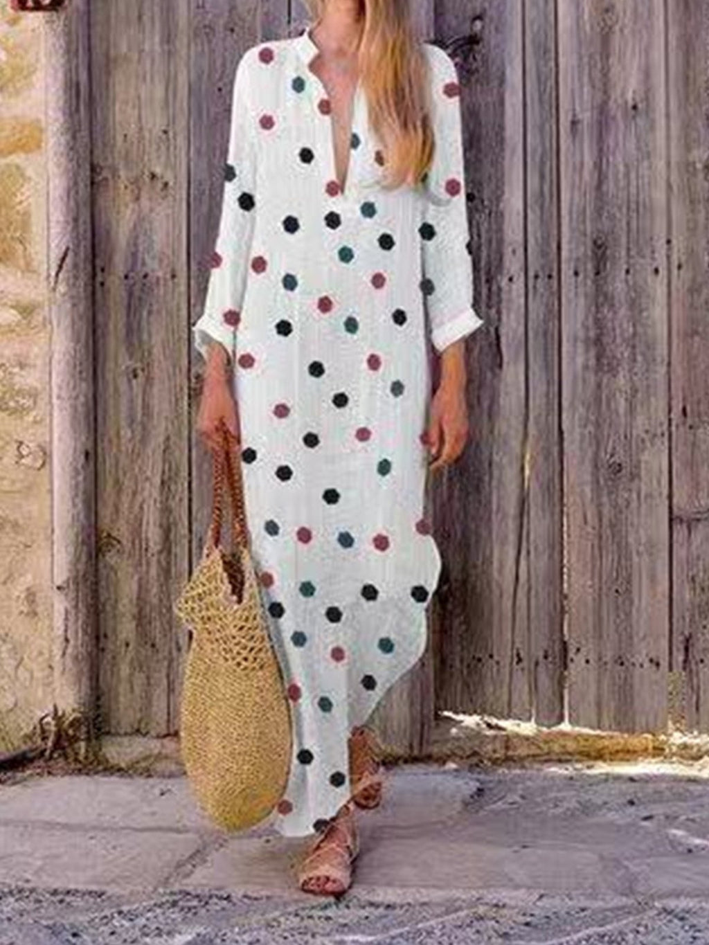 Polka Dot V Neck Long Sleeve Maxi Dress