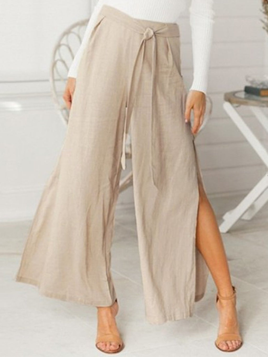 Linen Solid High Waist Belted Loose Slit Pants