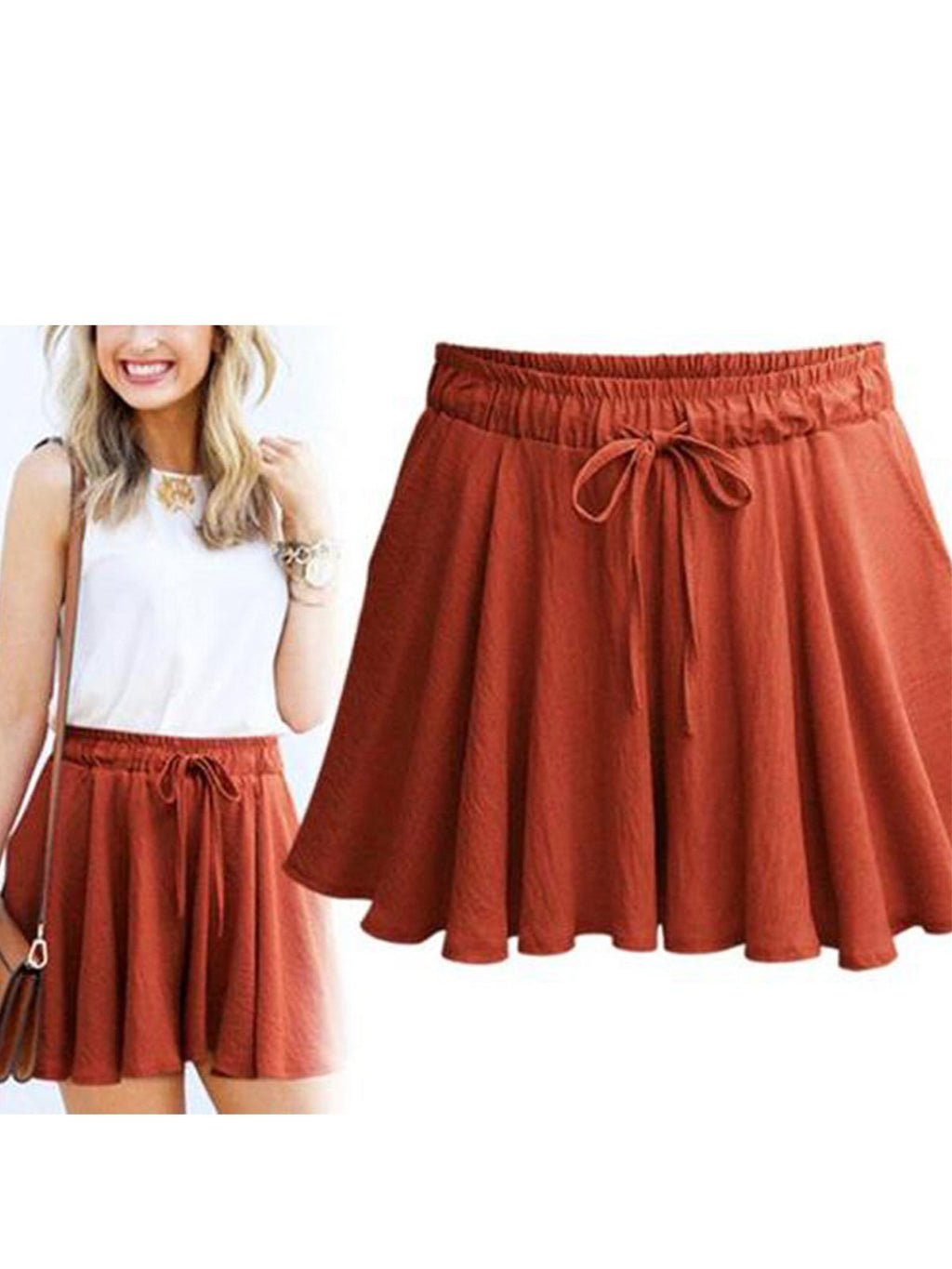 Cotton Drawstring High Waist Plus Size Pleated Culottes Shorts
