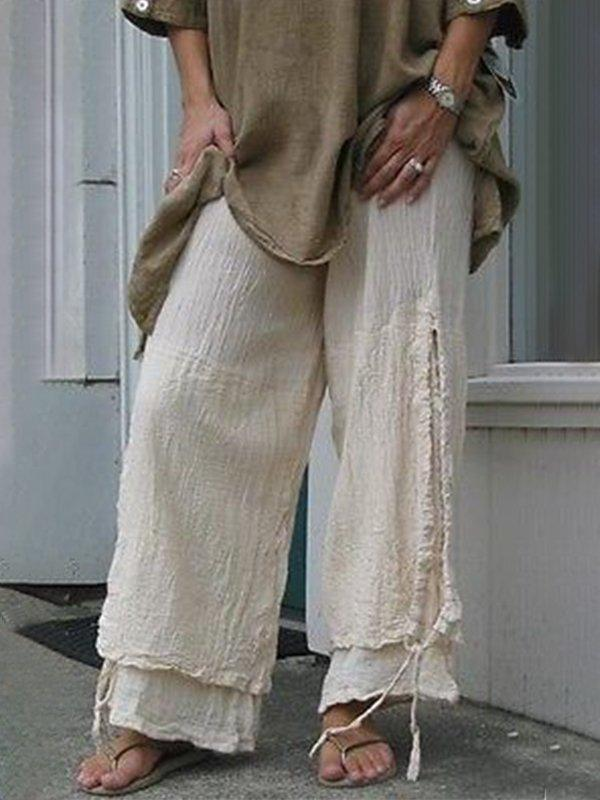 Beige Casual Ripped Linen Pants