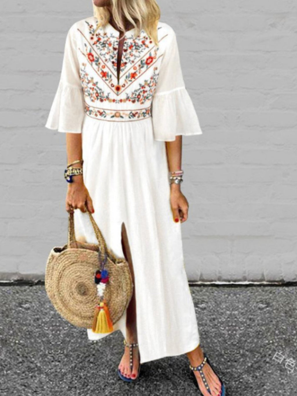 Floral 3/4 Sleeve Slit Plus Size Ethnic Style Maxi Dress