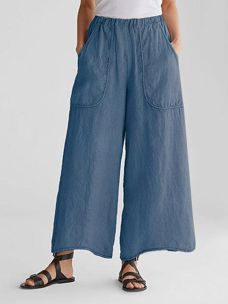 Linen/Cotton Solid Color Pocket Wide-Legged Loose Casual Pants