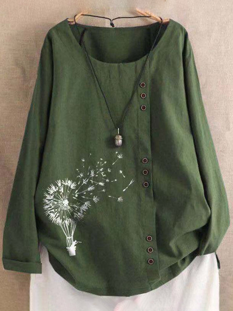 Dandelion Print Buttoned Round Neck Loose Plus Size Blouse