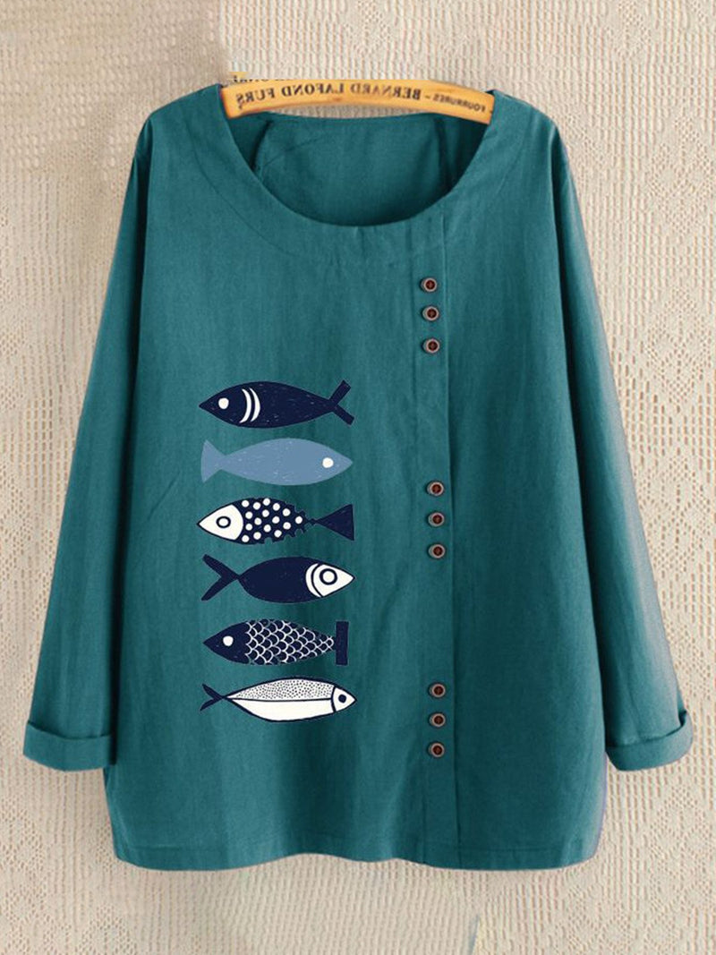 Buttoned Fish Print Round Neck Long-Sleeved Crew Neck Loose Blouse