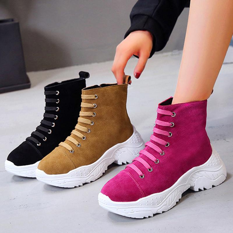 Women Flocking Athletic Booties Casual Comfort Lace Up Shoes
