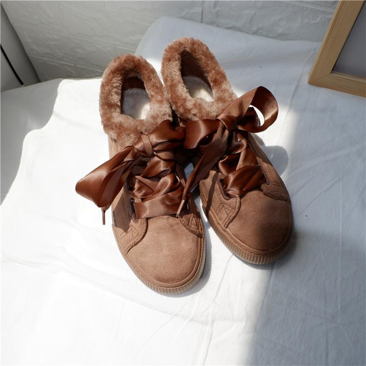 Winter Plus Velour Brown Satin Lace-up Low Hell Boot
