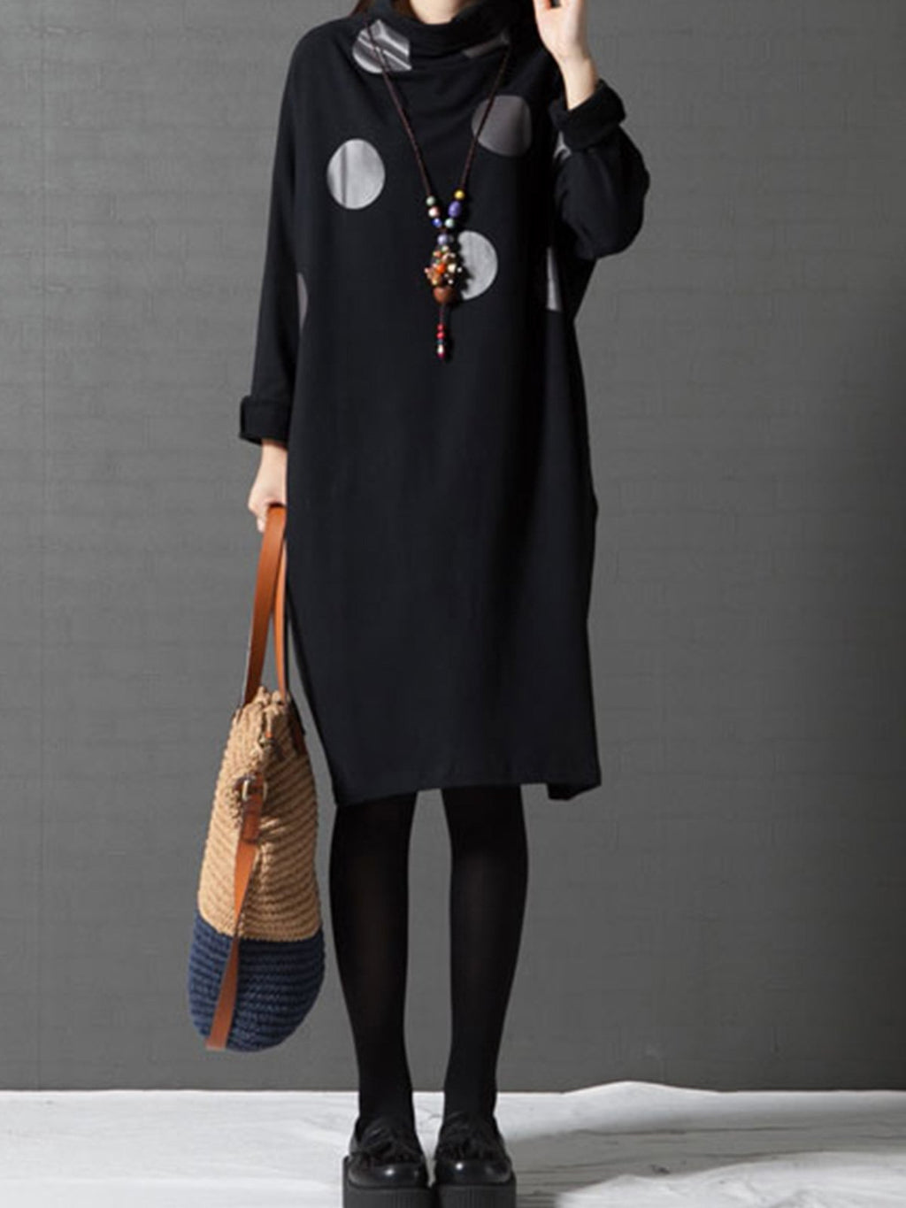 Loose Cotton Dot Print Turtle Collar Long Sleeve Dress