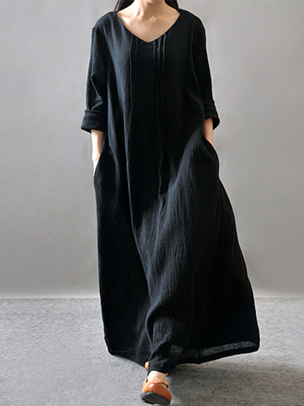 Solid Maxi Fall Linen Robe Dress