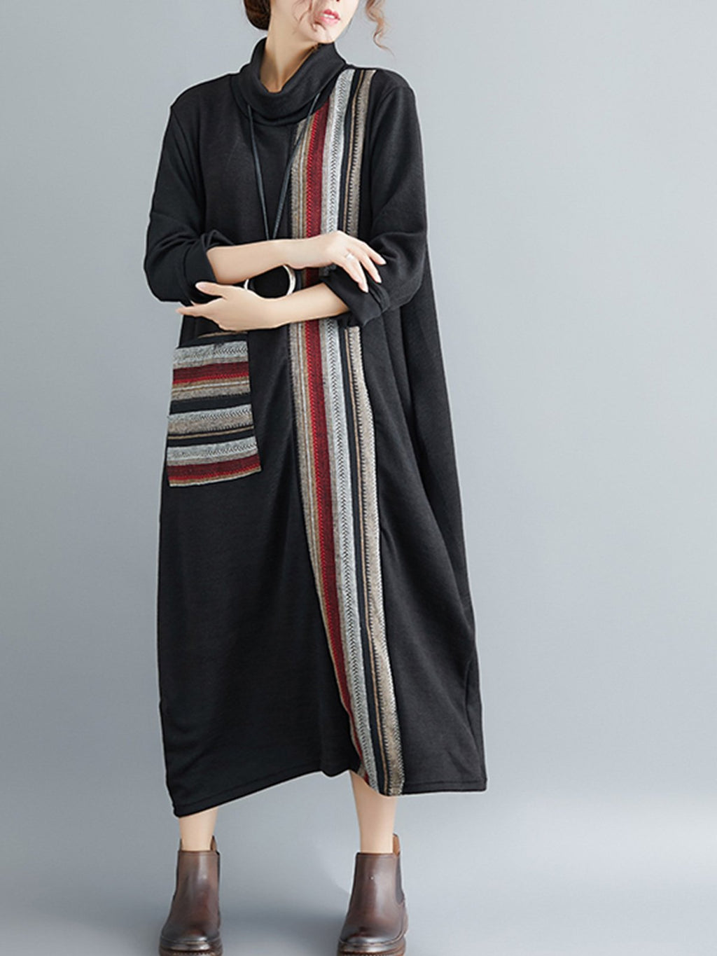 Fashion Striped Paneled Turtle Neck Loose Dress