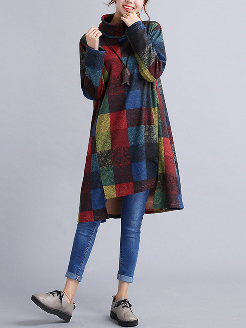 Color Block Loose Vintage Asymmetric Heap Collar Dress