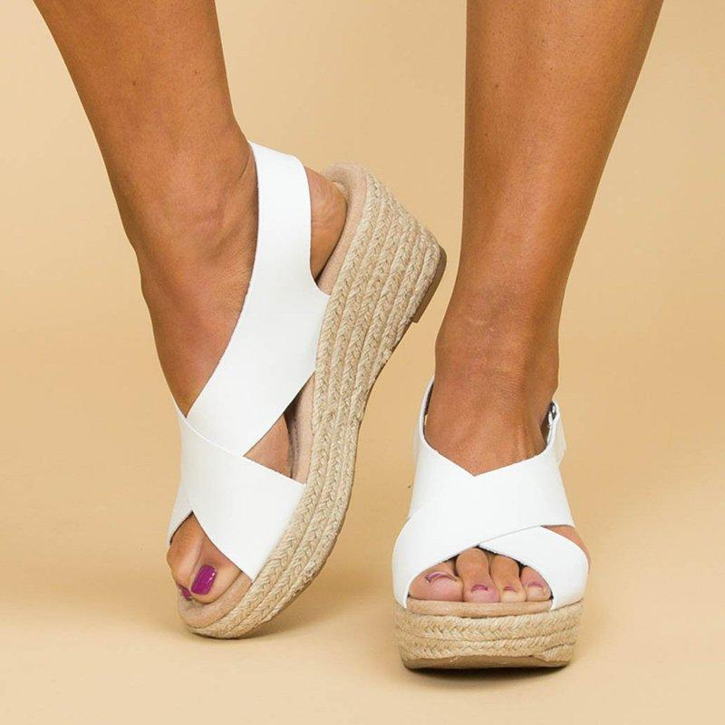 High Heels Wedges Cross-Band Buckle Straw-Weaved Sandals