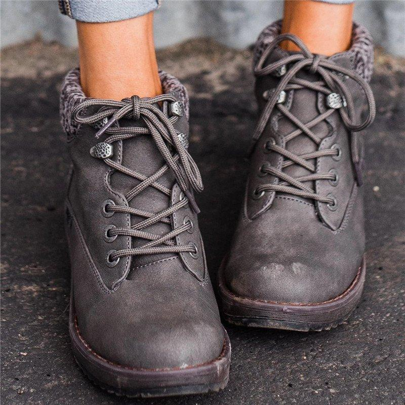 Casual Kniited Lace-up Ankle Boots