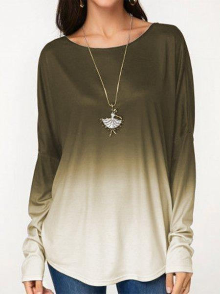Long Sleeve Wide T-Shirts with Color Block
