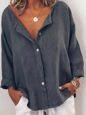 Women Button Placket Contrast Button Non-collar Shirt