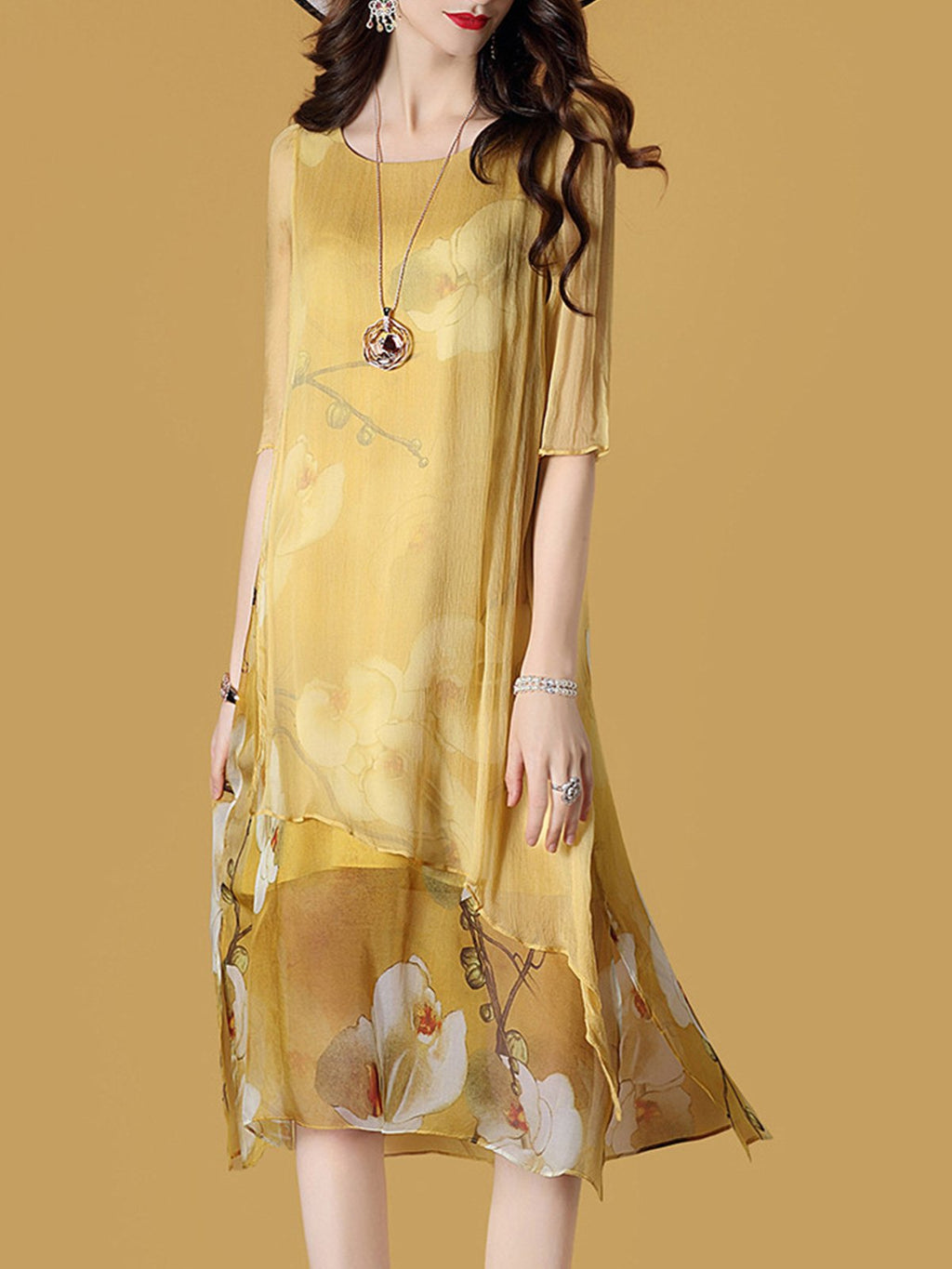 Yellow Summer Printed Asymmetric See-through Sleeve Loose Dress