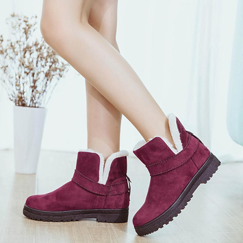 Big Size Strappy Warm Suede Ankle Slip On Artificial Fur Lining Flat Snow Boots