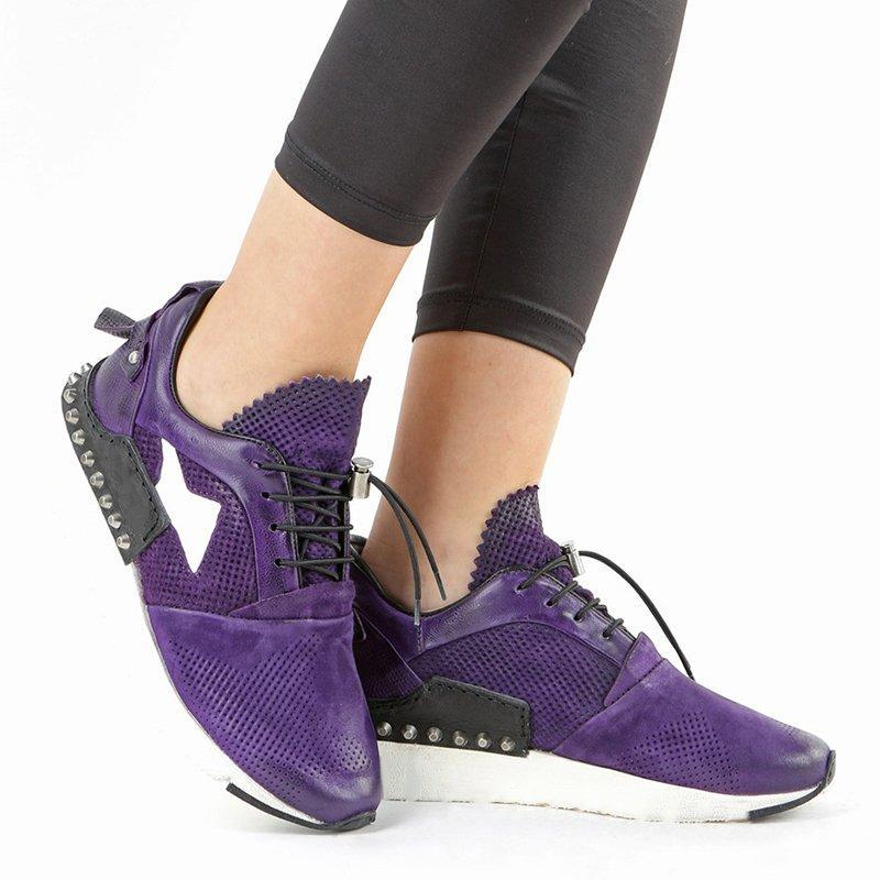 All Season Rivet Lace-up Flat Heel Sneakers
