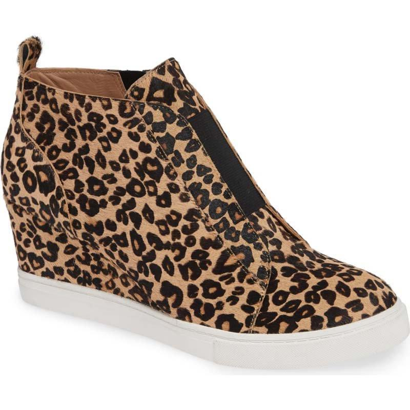 Women Wedge Heel Plus Size Leopard Booties Casual Shoes