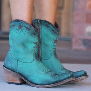 Women's Vintage Thick Zip Heel Booties