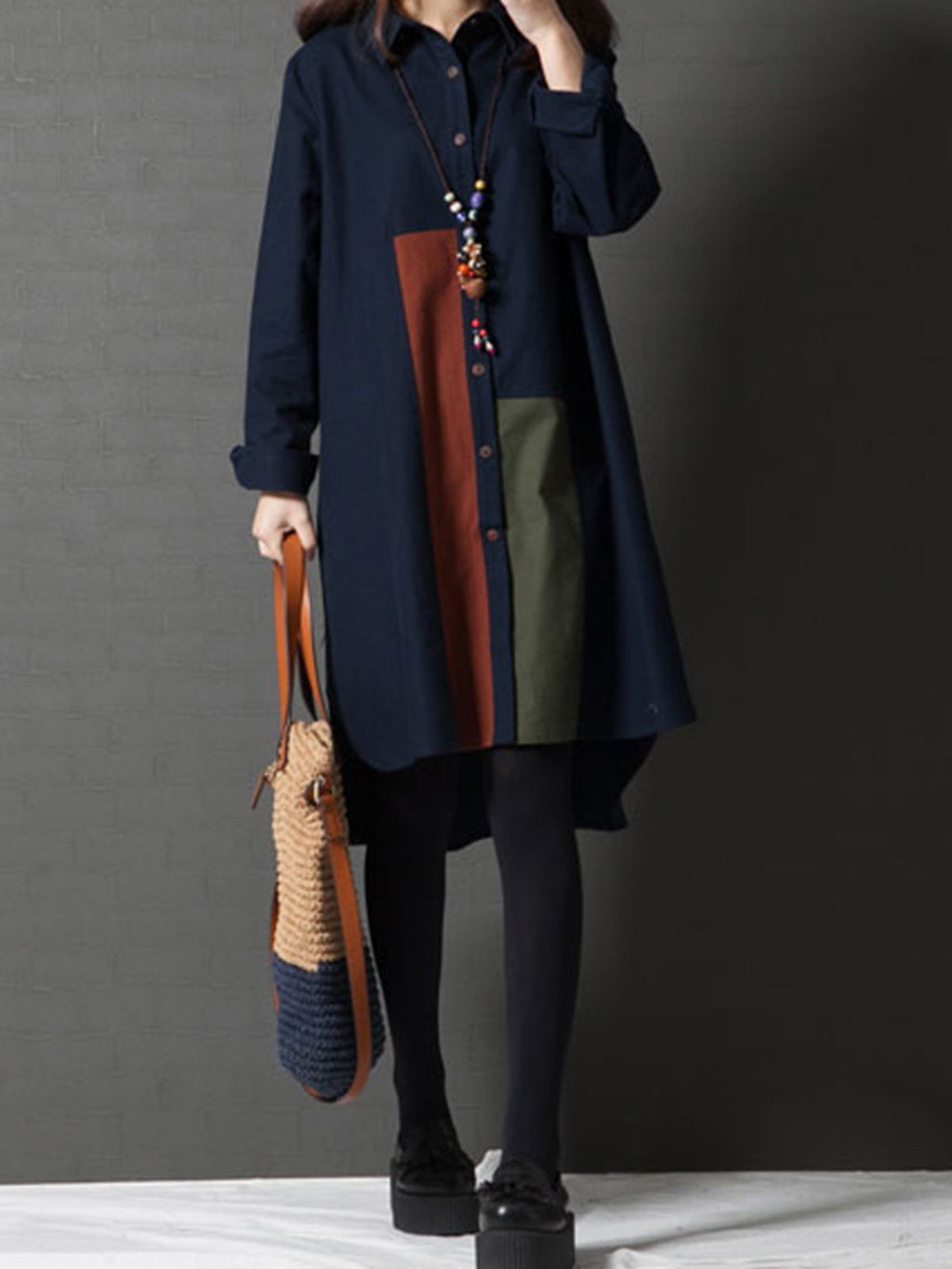 Fashion Color Block Long Sleeve Women Shirtdress