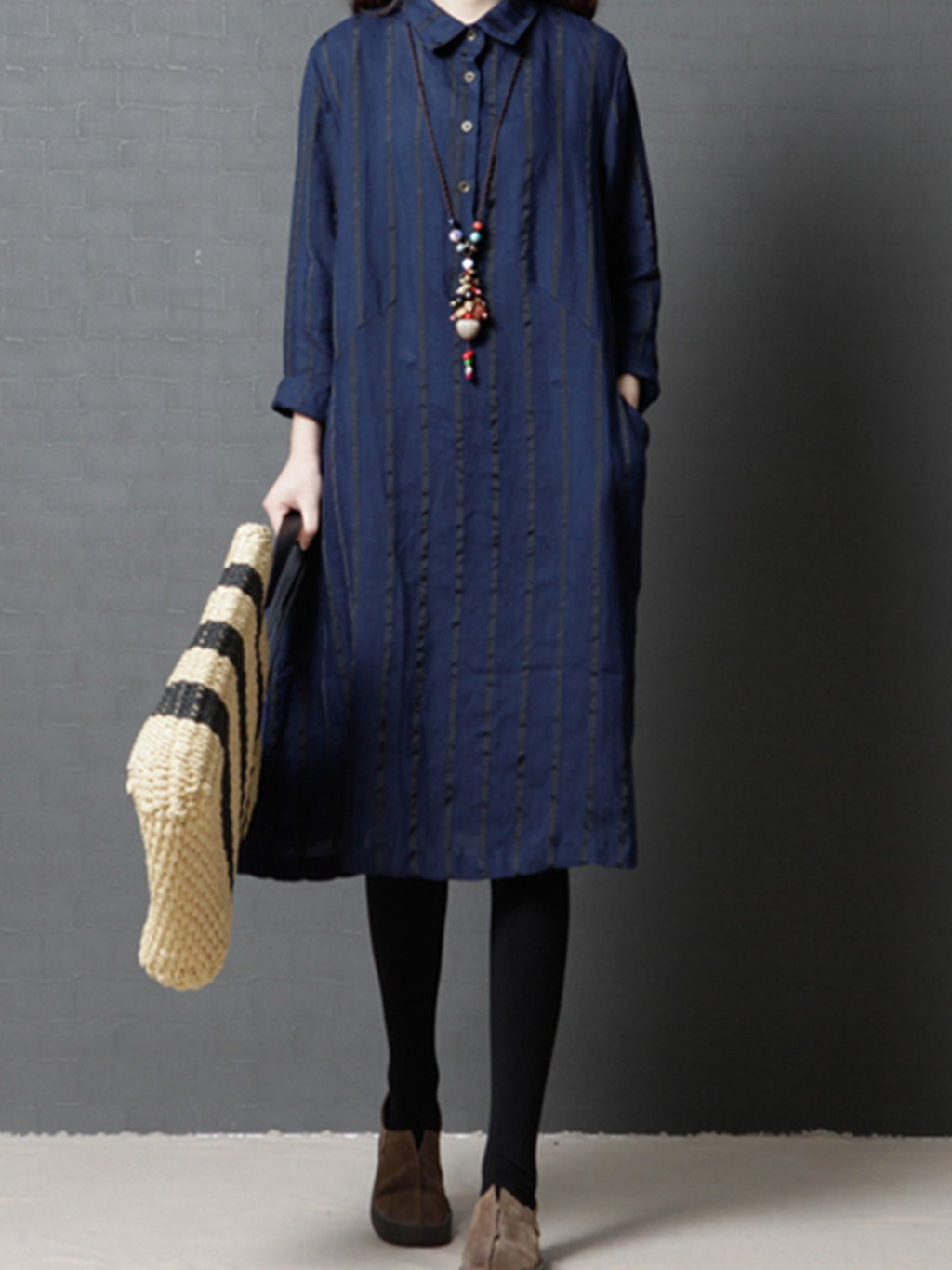 Loose Fashion Casual Striped Linen Women Shirtdress