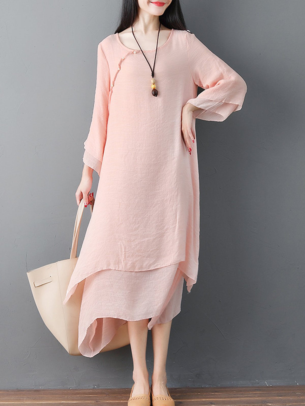 Double-layers Asymmetric Vintage Solid Dress