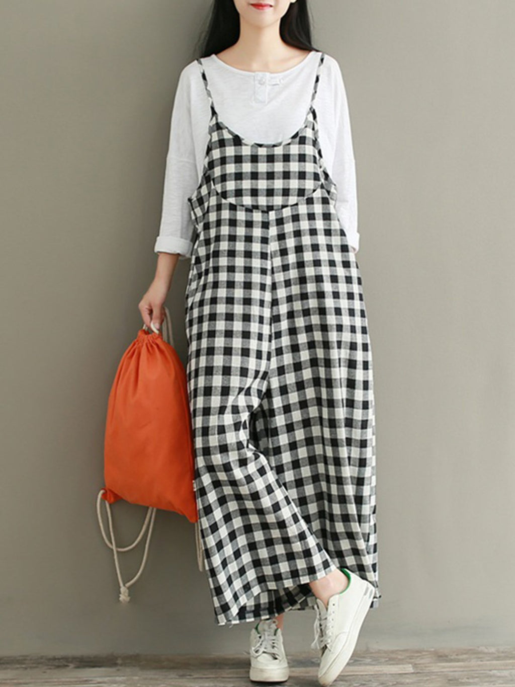 Linen Spaghetti Black/White Gingham Crop Wide-leg Jumpsuits