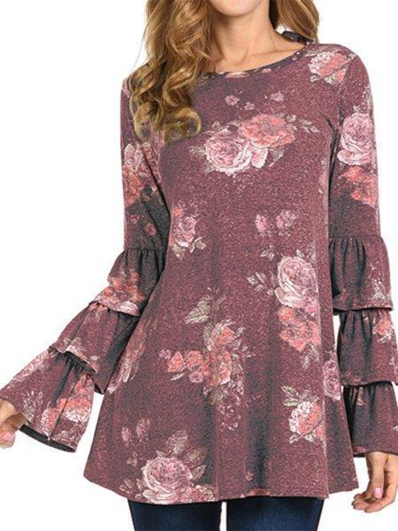 Balloon Sleeve Tunic With Floral Pattern