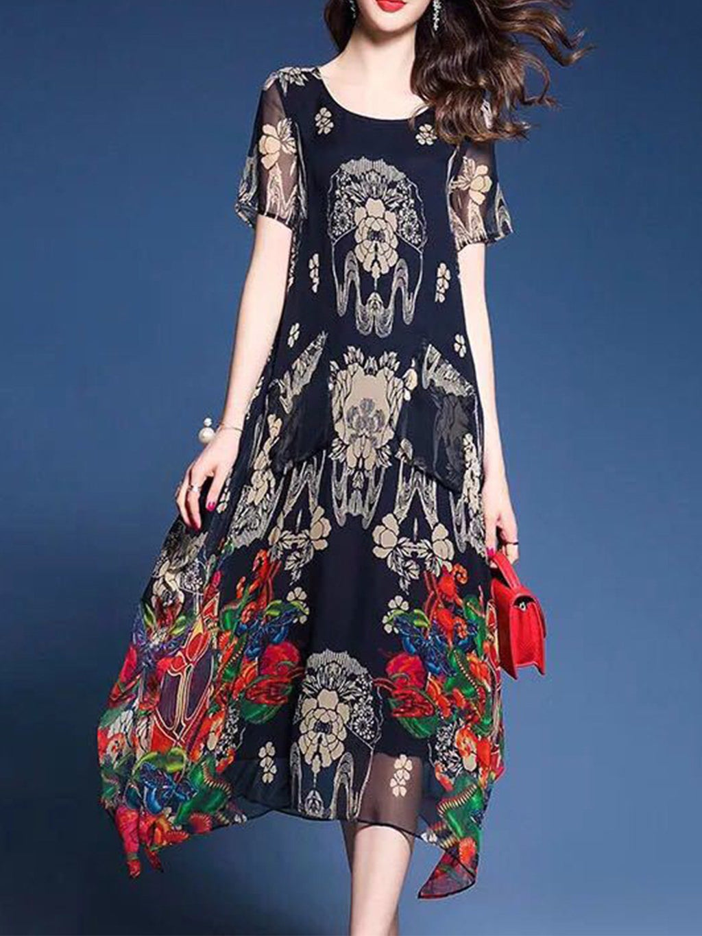 Chiffon Floral Printed Loose Flare Dress