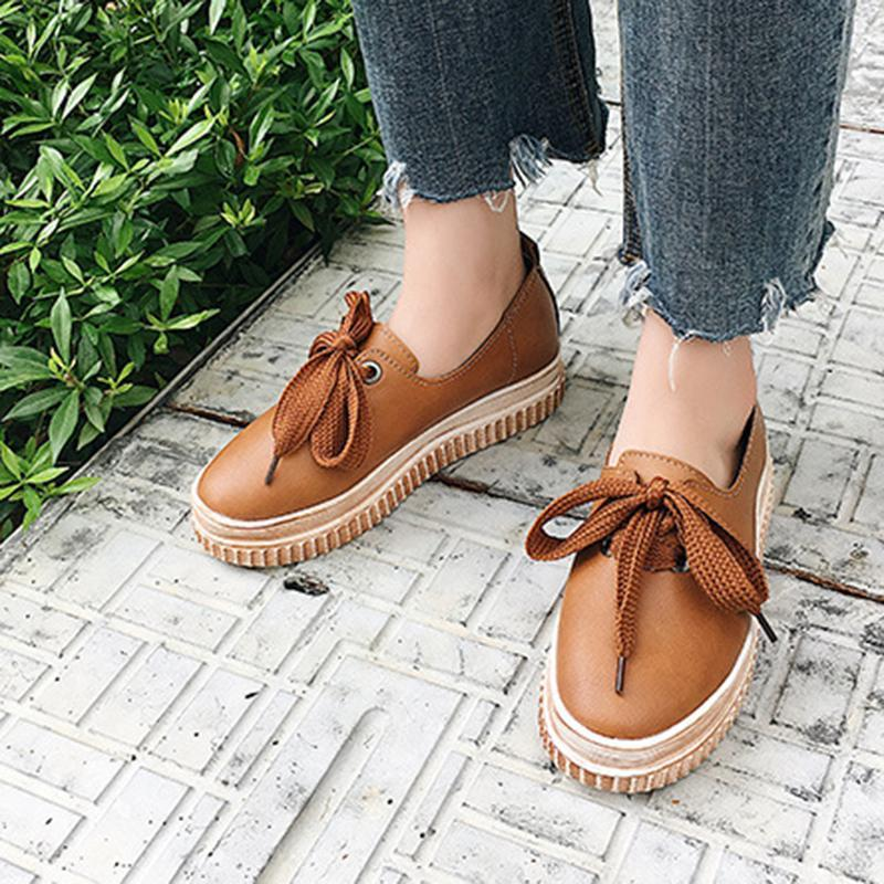 Women Lace Up Loafers Casual Shoes