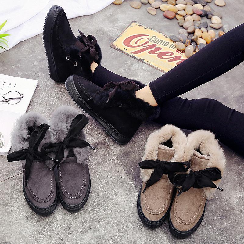 Black Womens Artificial Suede Casual Winter Snow Boots
