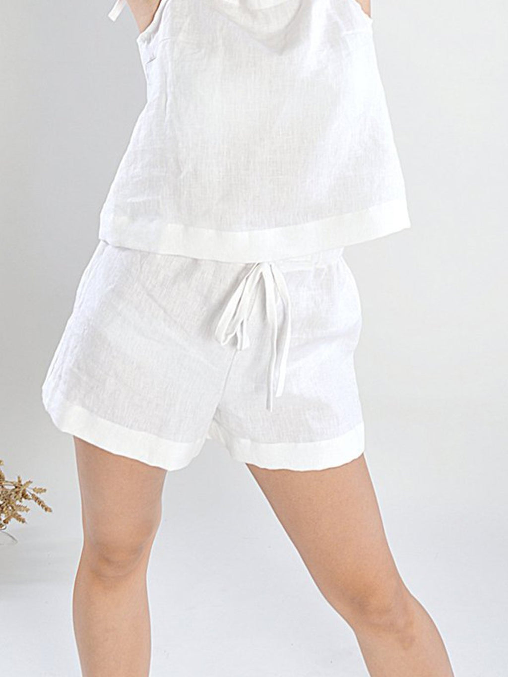 Plus Size Adjustable Waist Summer Linen/Cotton Shorts