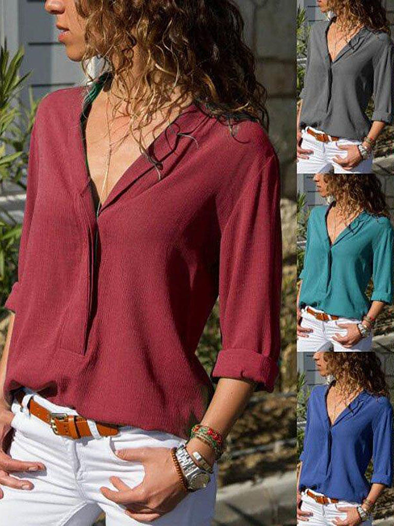 V Neck Solid Plain Long Sleeve Blouse