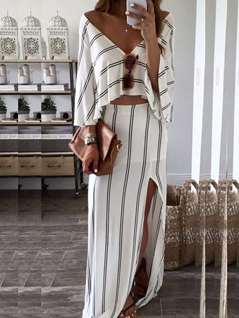 V-Neck Ladies Daily Striped Batwing Summer Two-Piece Dress