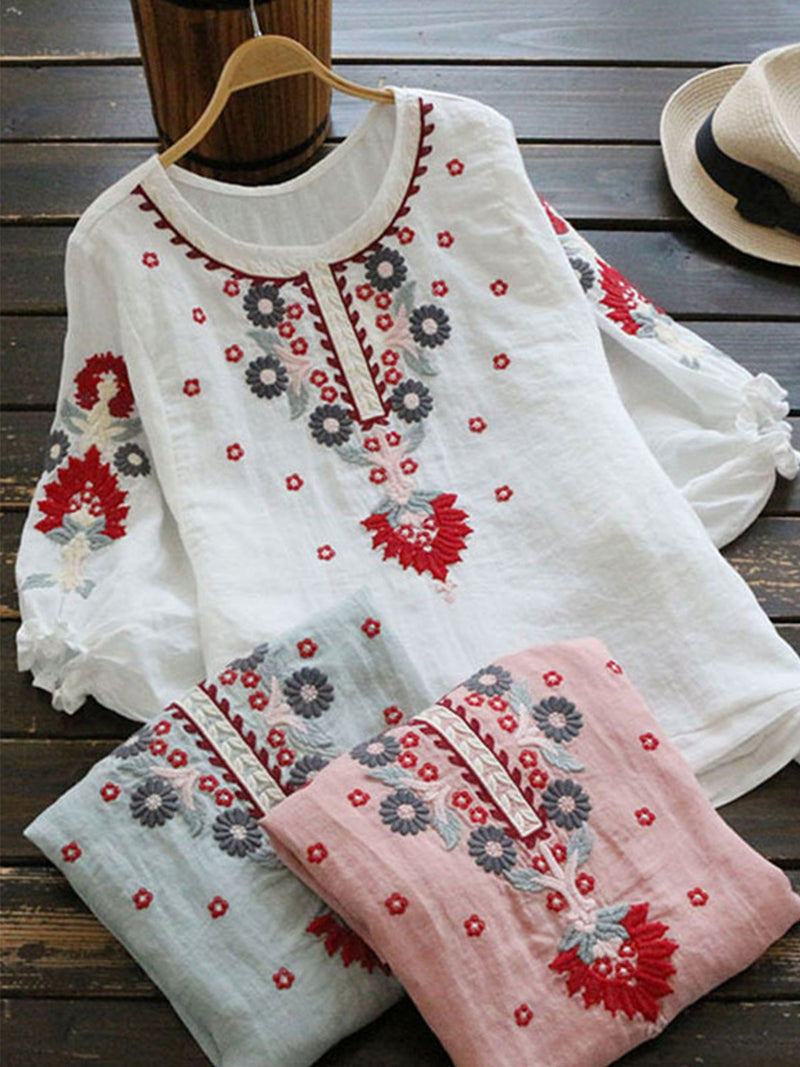 Half Sleeve Casual Crew Neck Vintage Floral Embroidery Linen Blouses