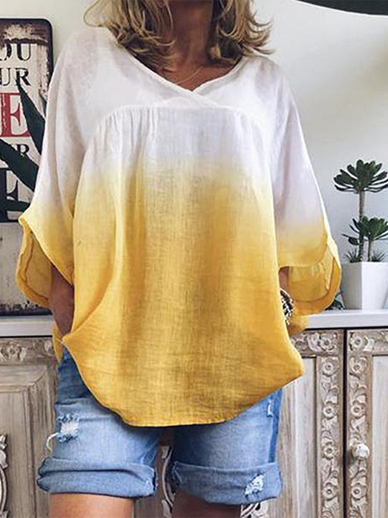 Plus Size Gradient V Neck Crop-Sleeved Loose Blouse