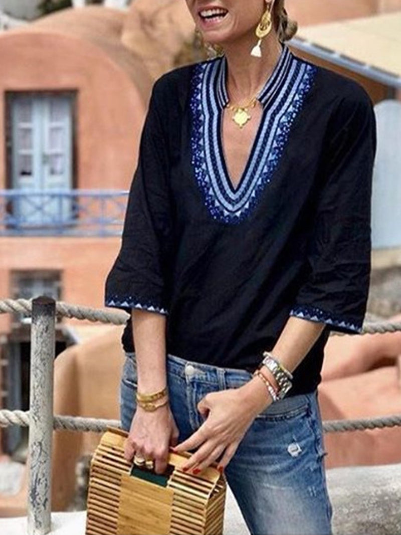 Summer Women Embroidery Trim V Neck 3/4 Sleeve Shirt