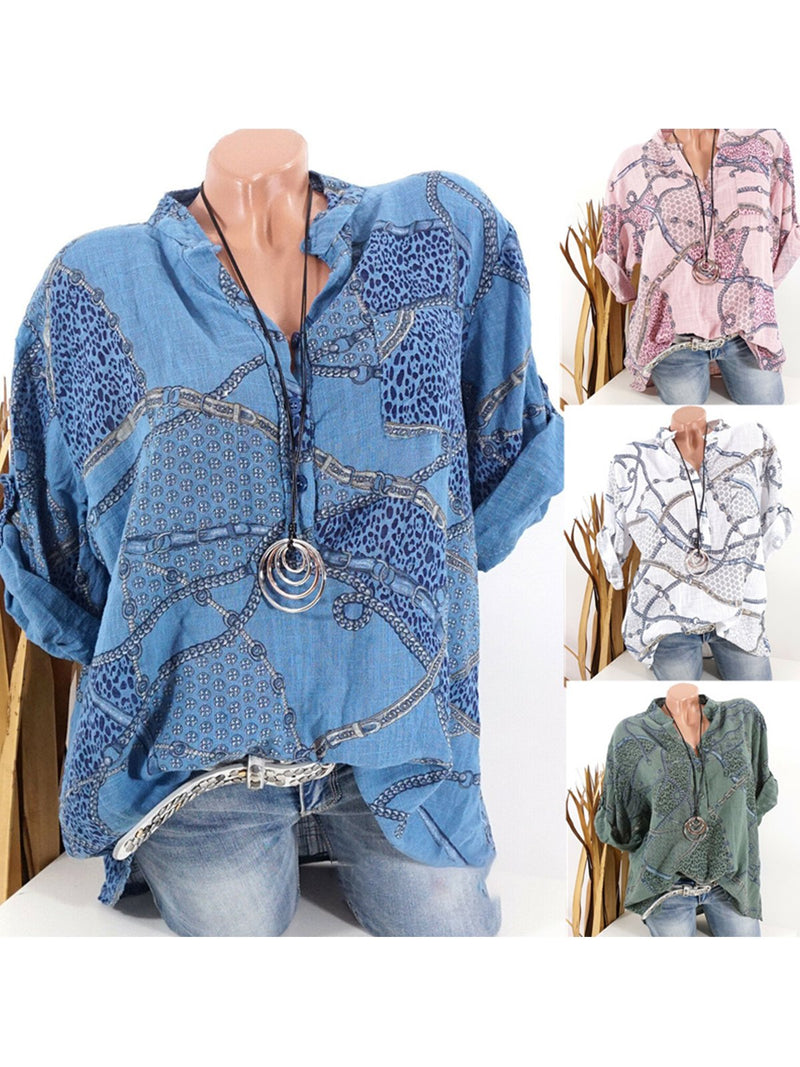 Plus Size Chain Print Stand Collar Long-Sleeved Shirt