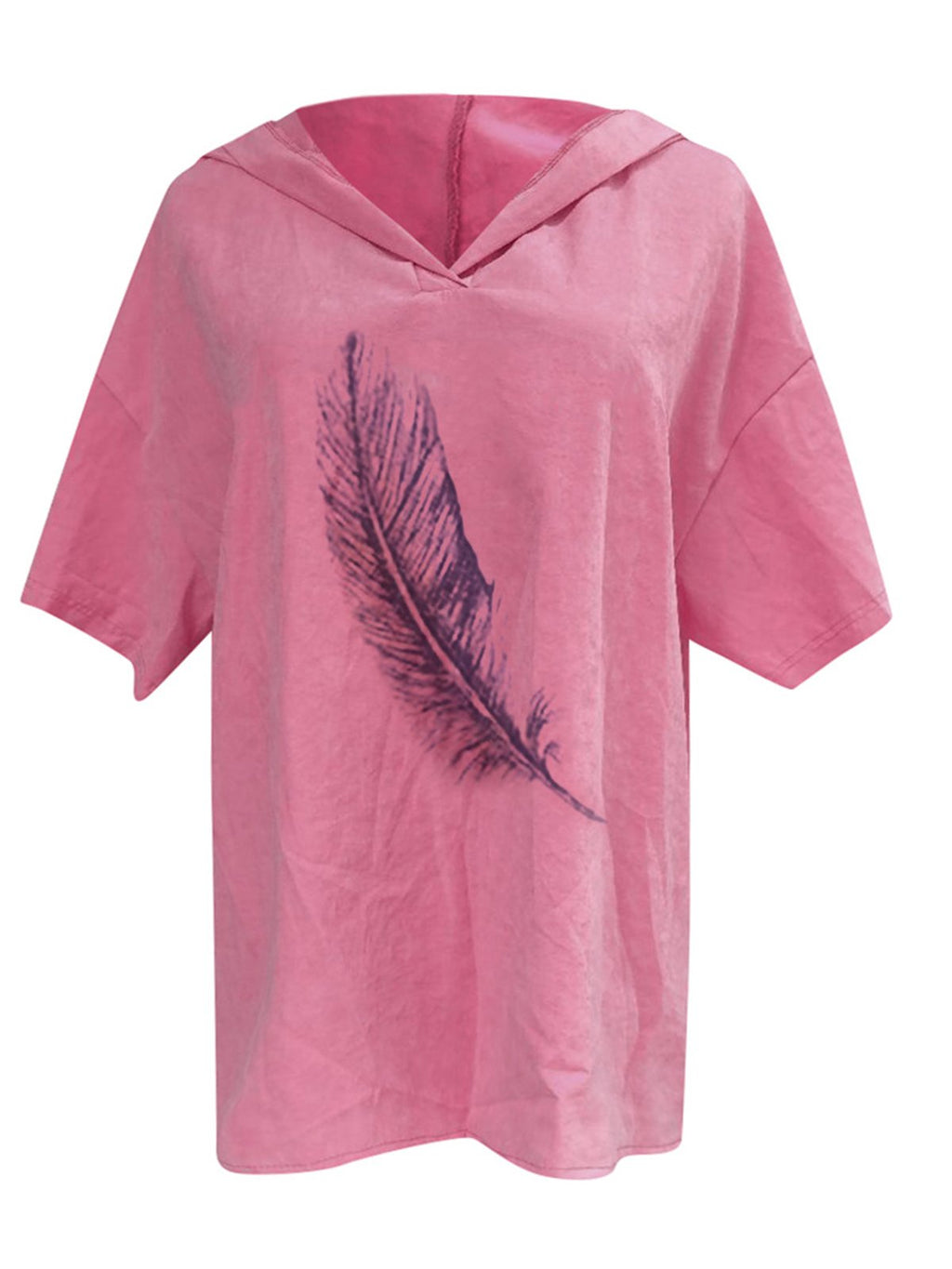 Feather Print Hoodie Short Sleeve Plus Size Top