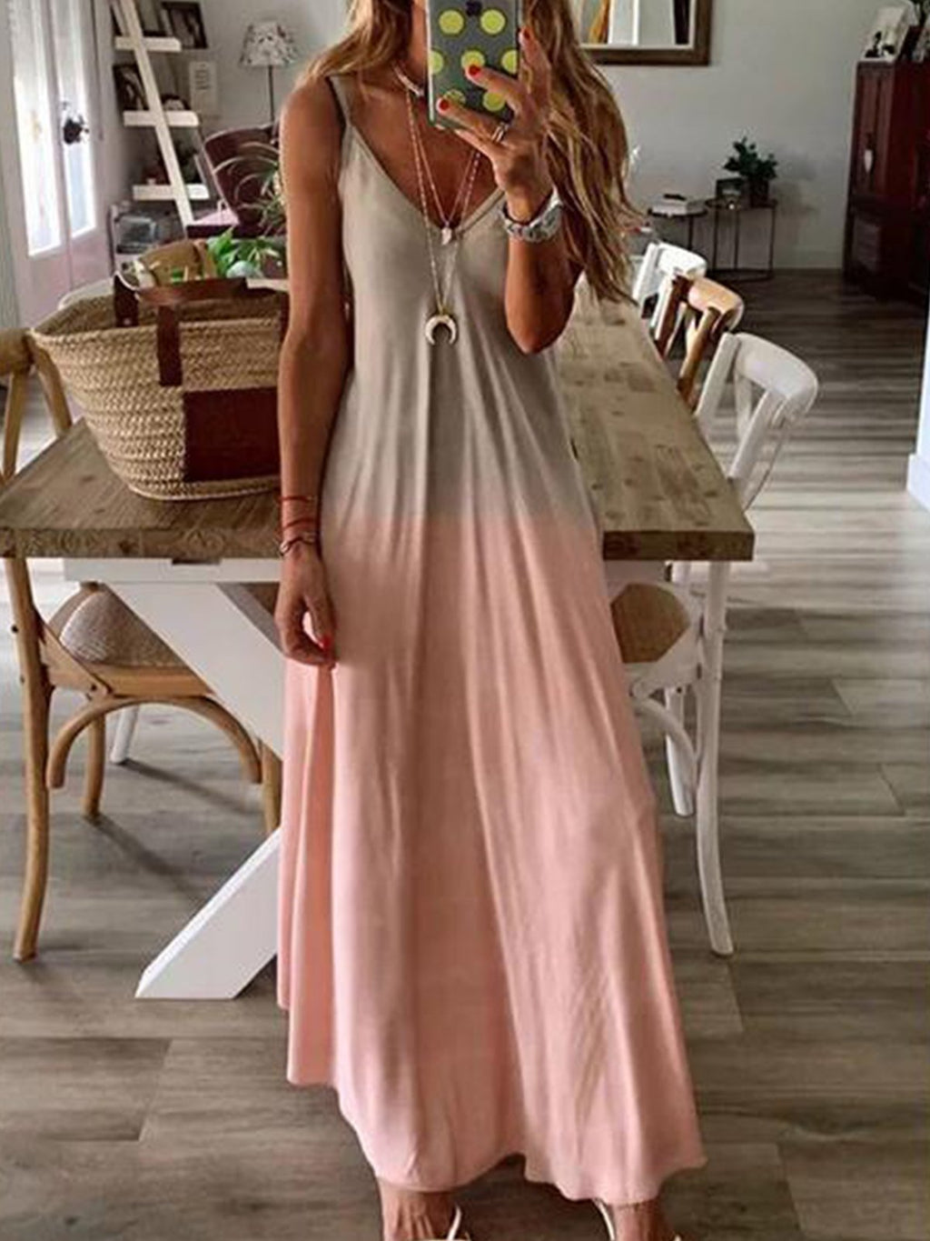 Gradient Pattern V Neck Sleeveless Maxi Sling Dress