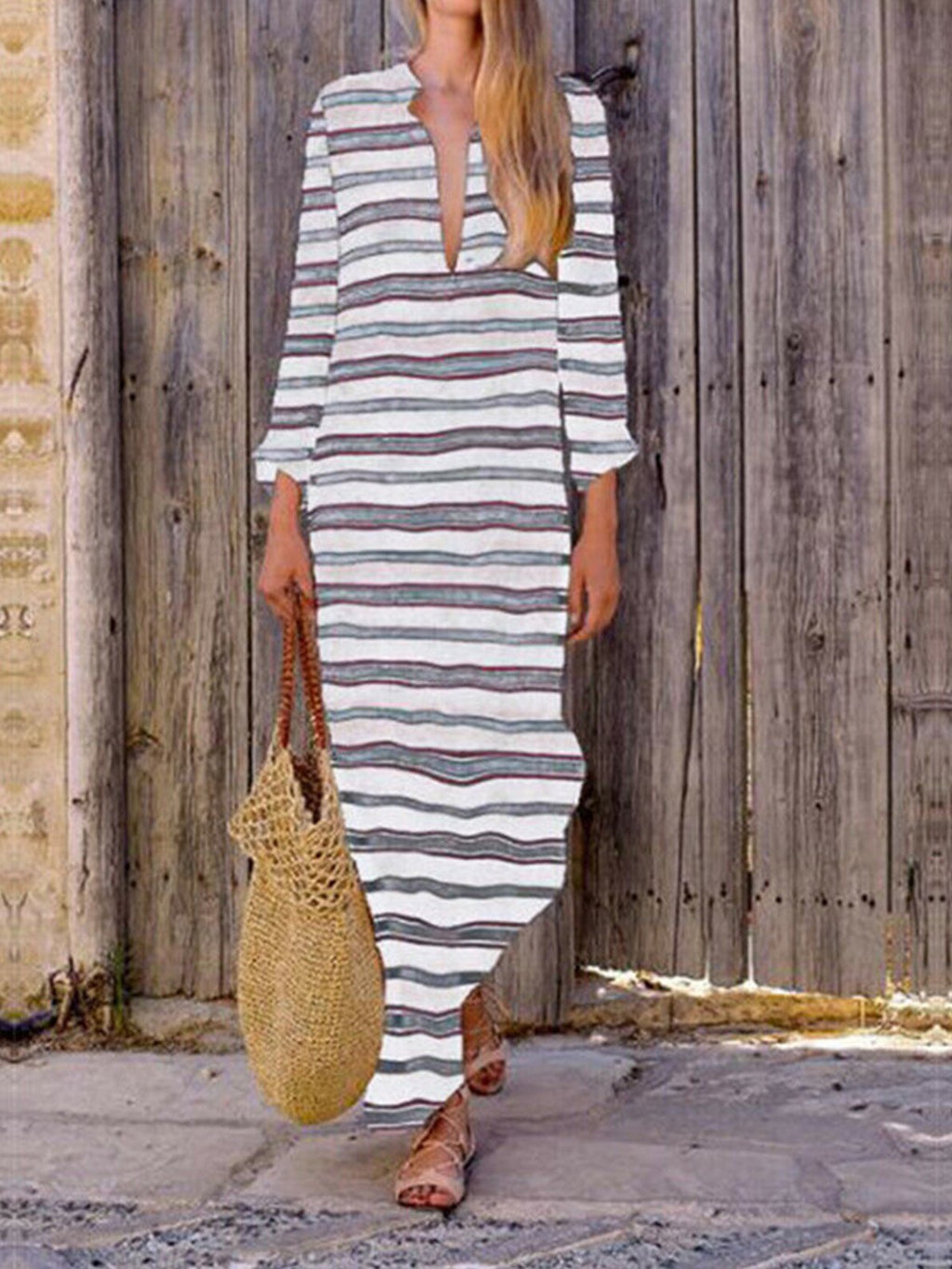 Plus Size Asymmetric Stripe Print Long-Sleeved V Neck Shift Maxi Dress