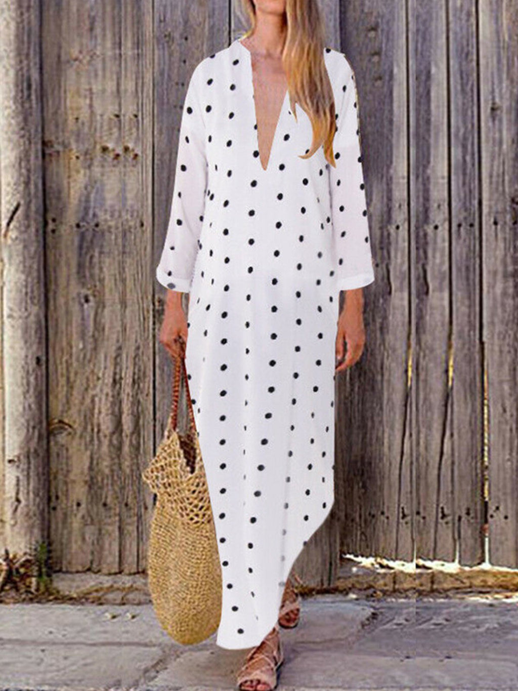 Plus Size Polka Dot Print V Neck Long-Sleeved Shift Maxi Dress