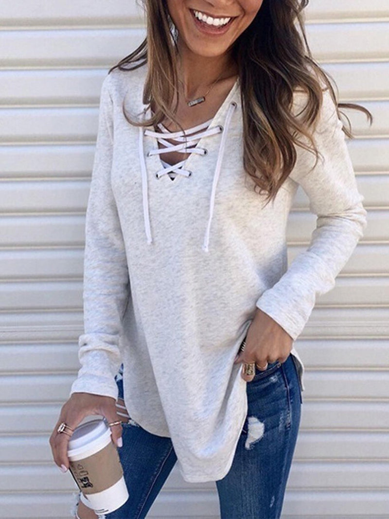 Crisscrossed V Neck Loose Solid Long-Sleeved T-Shirt