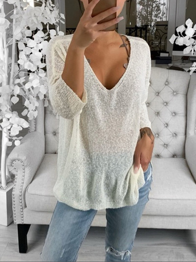 Plus Size V Neck Solid Sweater Knit Blouse