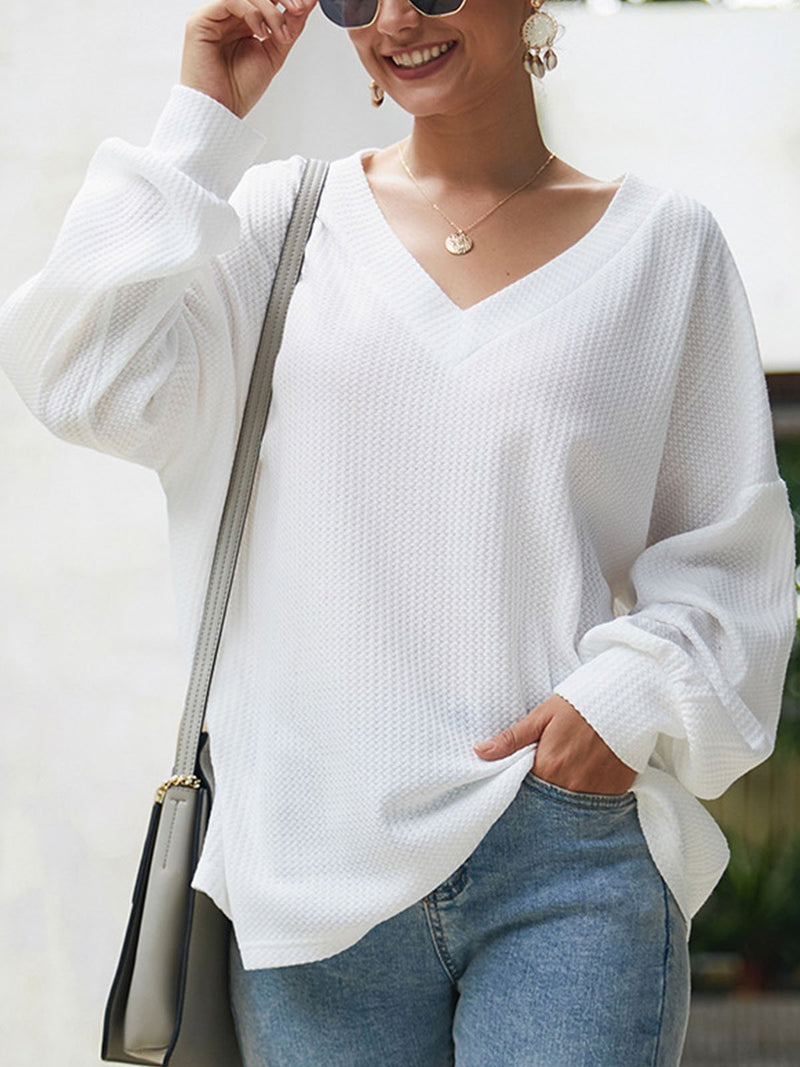 Autumn V Neck Long-Sleeved Loose Casual Solid Knit Blouse
