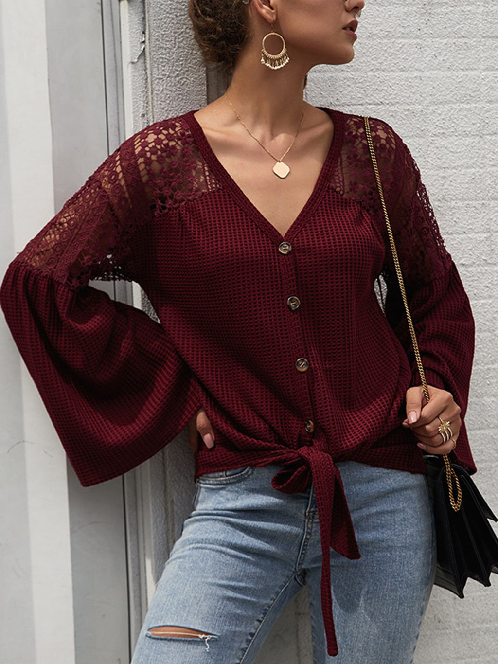 Lace Splice Shoulder Flare Sleeve Knit Solid Blouse