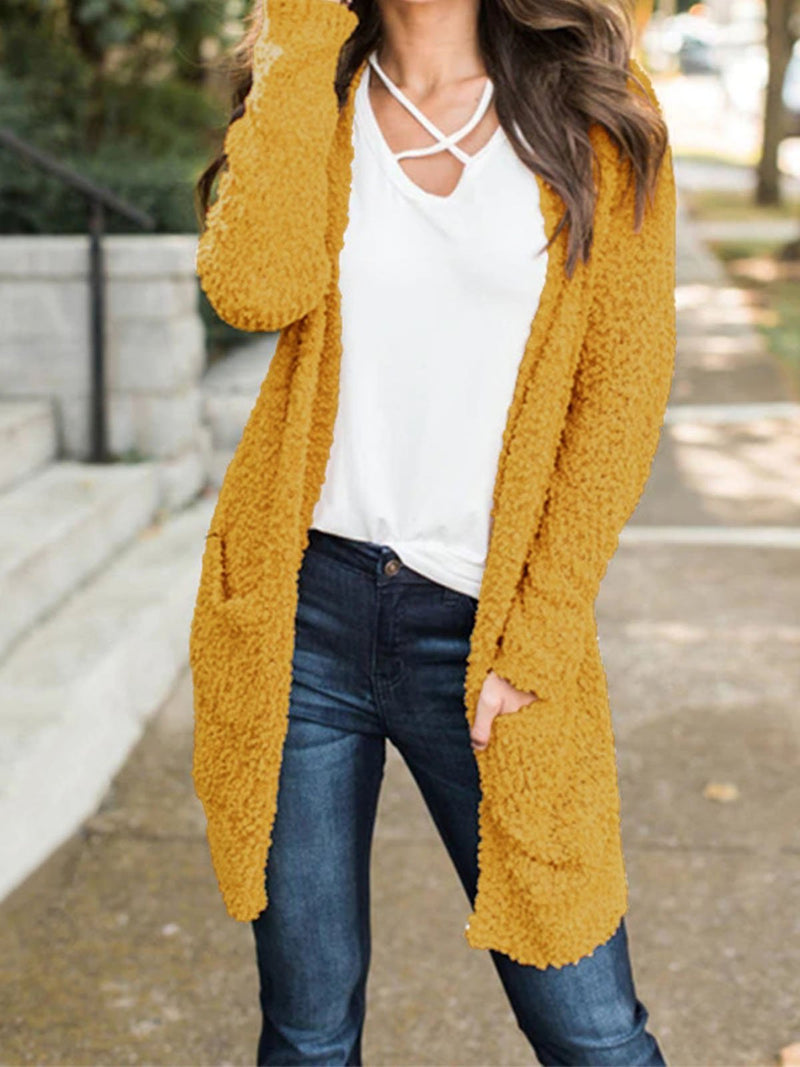Pocket Long-Sleeved Sweater Knit Cardigan Coat