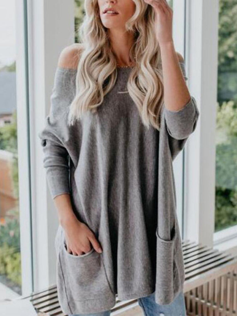Plus Size Solid Paneled Fluffy Double Pocket Long-Sleeved T-Shirt