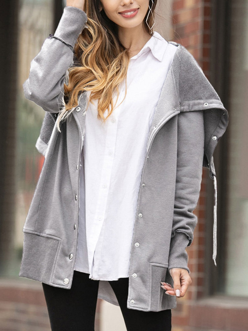 Plus Size Solid Snap Button Sweatshirt Coat