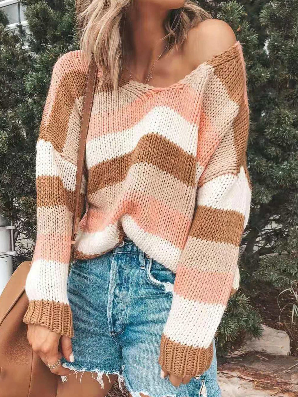 Pink Stripe Cold Shoulder Long-Sleeved Drop Shoulder Loose Sweater